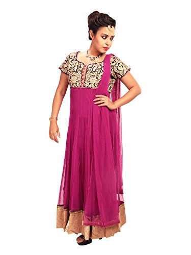 Sharmili Purple Latest Designer Anarkali Embroidered Net Salwar suit for women, Matching Churidar & Dupatta, ( stitched ),L / XL size,Round NeckDaily wear / Party Wear By Zenith Garments  available at amazon for Rs.1795