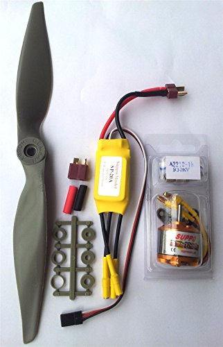 Power Kit Brushless Motor + ESC + Propeller for RC Model Aircraft of 300-800g - Configuration for Largest Flight Time for Lipo Batteries 2S
