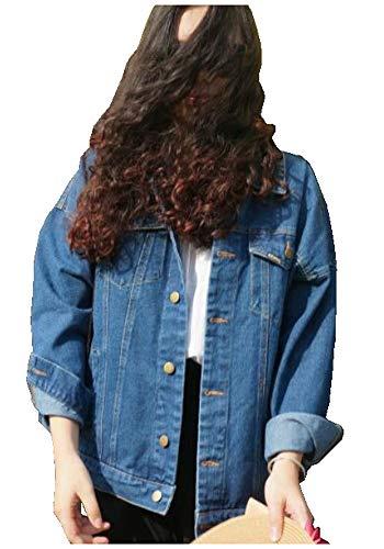 CYSTYLE 2018/2019 BF Stil Damen Jeans Jacke Denim Jacke Mantel Beiläufige Outwear Jeansjacke (Blau, S)