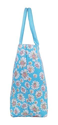 Borse per la spesa in tela,borse ideali per la spiaggia, borsa a tracolla per vacanza, stile shopping, 17stampa floreale per estate, design grazioso, a pois, da parete fiore, tinta unita, colore: bl Light Blue Daisy