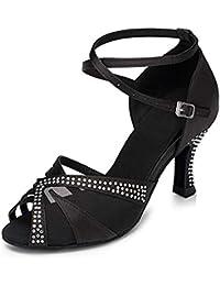 Naudamp Zapatos de Baile Latino estándar para Mujer Zapatos de salón Sandalias con Diamantes de imitación