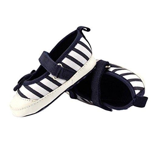Hunpta Babyschuhe Mädchen Jungen Lauflernschuhe Neugeborenes Baby Kinder Liebe Stripe Schuhe Bowknot weiche Sohle Schuhe (13, Navy) Navy