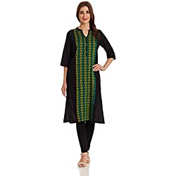 Aurelia Women's Straight Kurta (17FEK13104-78656_M_BLACK)