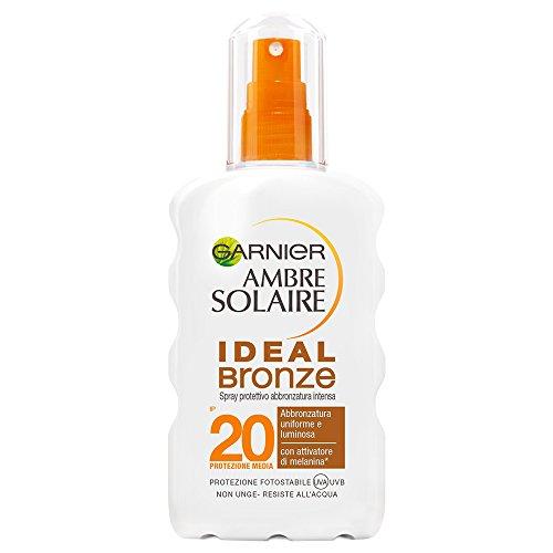 Garnier ambre solaire crema solare abbronzatura intensa, protezione solare in spray ideal bronze, ip20, resistente all'acqua, 200 ml
