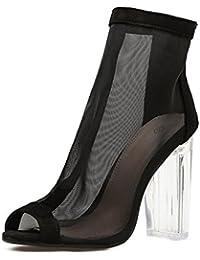 L-XIE Mujer Sandalias Botas Cristal Grueso Alto Tacón Zapatos Transparente Red Negro Trabajo Fiesta Vestir Club...