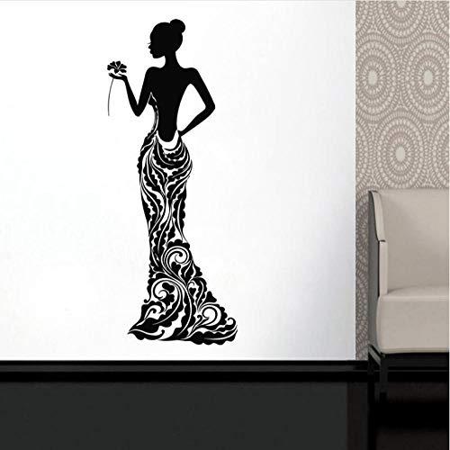 Kreative wand Schöne Afrikanische Frau Vinyl Aufkleber Modell Mädchen Kleid Rose Bobo Muster Wohnkultur Ideen Innenraum Schlafzimmer Wandkunst (Kleid Ideen Kreative)