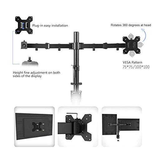 Suptek Fully diverse two offer you LCD LED Monitor Desk Mount stand Bracket for 13 27 Screens by signifies of  15 Tilt 360 Rotation 180 Pull Out Swivel offer you Max VESA 100x100 MD6442 Monitor Arms Stands
