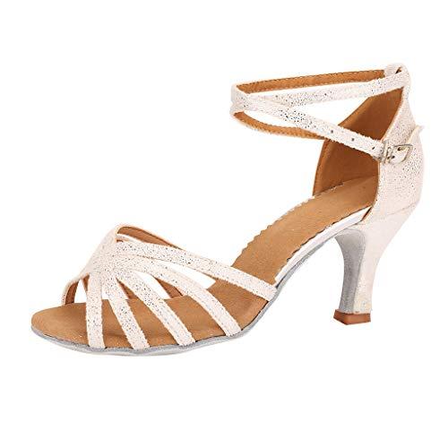 Kobay Fashion Damen Tanzschuhe Walzer Moderner Ballsaal Latin Dance Soft Bottom Sandalen(38,Weiß)
