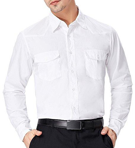 Paul Jones Herren Hemd Langarm Slim Fit Business Hemd Freizeit Hemd PJ0051 PJ53(Weiß)
