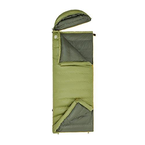 KingCamp Daunenschlafsack -26°C / -14.8°F mit abnehmbarem Kopfteil Warm Ultraleicht Deckenschlafsack für Camping Trekking Wandern Zuhause Rucksackreisen, (185 + 35) × 80 cm