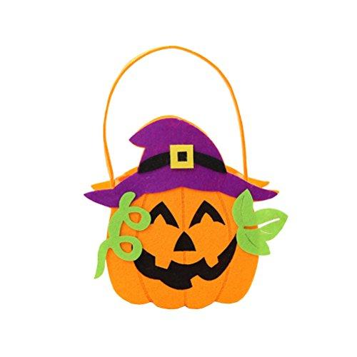 (Amosfun Halloween Kinder Süßigkeiten Taschen Handtaschen Non-Woven Candy Taschen Party Favors (grüne Blätter und Kürbisse))