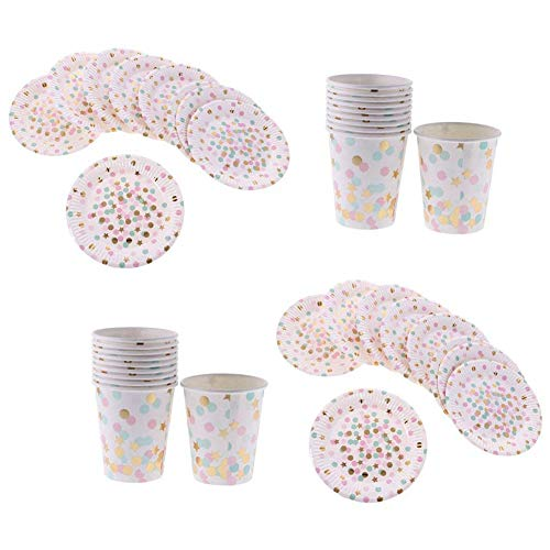 TOOGOO Set Vaisselle Jetables 20pcs Assiettes Rond +20pcs Gobelet Carton Motif Pois Rond Multicolore pour Anniversaire