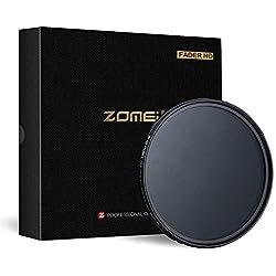 ZOMEi Nouvelle Génération Filtre Professionnel/Filtres de Lentille/Fader ND2-400 Filtre/Densité Variable Gris Neutre ND2 à ND400 pour DSLR Lens 82mm