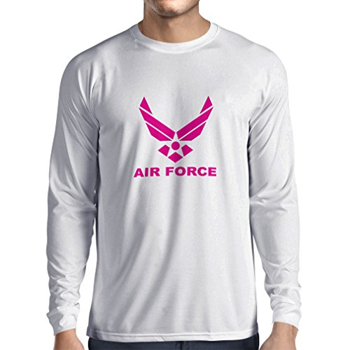 Langarm Herren t Shirts United States Air Force (USAF) - U. S. Army, USA Armed Forces (XS Weiß Magenta) - Air Force Langarm-t-shirt