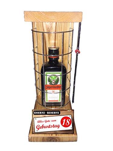 """""""Alles Gute zum 18 Geburtstag"""" Die Eiserne Reserve mit einer Flasche Jägermeister 0,35L incl. Bügelsäge zum aufschneiden des Metallgitters – Das ausgefallenes witziges"""