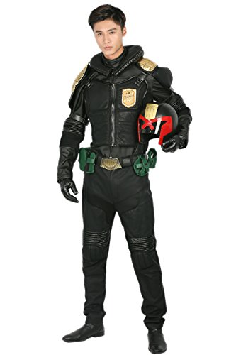Xcoser Judge Kostüm Cosplay Halloween Herren Deluxe Schwarz PU Leder Anzug Uniform Fancy Dress Kleidung Outfit