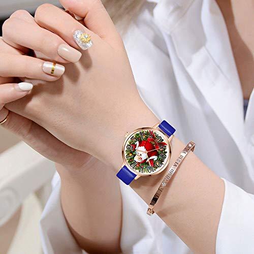 Gaddrt Uhren Frauen Uhr Weihnachten Lederband Analog Quarz Vogue Armbanduhren Geschenk (Blau)