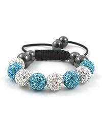 08-Ball Children Kids Girls Boys Petites Teen White Lake Blue Bead Shamballa Bracelet on Black String