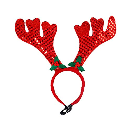 (Hilai Pet Head Hoop Kleiner Hund Mützen Haar Grooming-Accessoires Tierweihnachtskostüm Outfits Red Antlers 1PC)