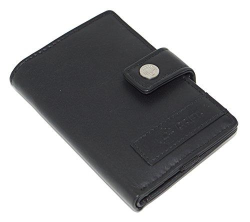 CRIPT 4.45 echt Leder Schwarz – Kartenetui Wallet Kreditkartenetui für bis zu 15 Karten mit Münzfach, Scheinfach, Flexband, Druckknopf – kleine flache Geldbörse mit RFID Schutz Blocker + Decisionmaker (Fossil Geld-clips)