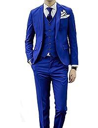 Traje para hombre de 3 piezas, corte entallado, chaqueta de 1 botón y chaleco