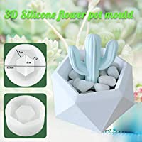 Jeteven 3D Silikon Molds DIY Silikonform Runde Blumentopf Handwerk für Sukkulenten Pflanzen Kerzenhalter (A)