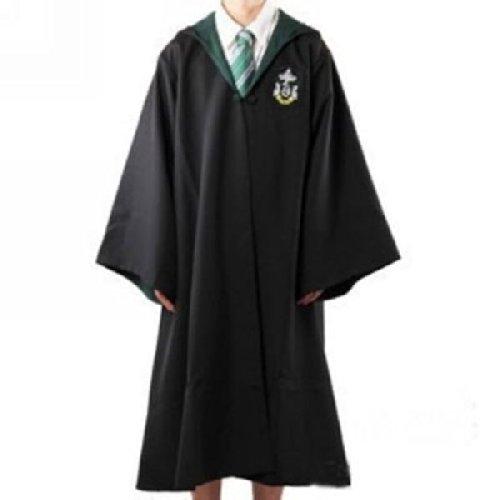 Erwachsene Potter Kostüm Harry (Harry Potter Kostüm Jünger Erwachsene Slytherin Schule lange Umhang Mantel Robe Größe M)