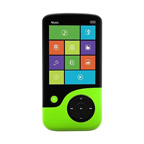 Crypto MP2400 - Registratore/lettore audio/video 8 GB, MP4, con radio FM, scheda di memoria micro SD, colore: nero/verde