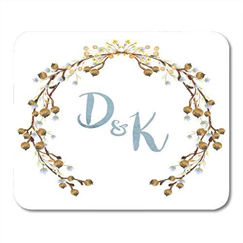 chzeits-Kranz-Monogramm mit Blumen in den grünen und Pastellfarben auf Weiß Save the Date danke Mausunterlage für Notizbücher, Tischrechner-Büroartikel ()