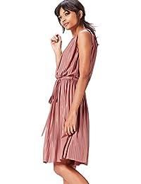 FIND Abendkleid Damen mit Plissee-Falten und Metallic-Fasern