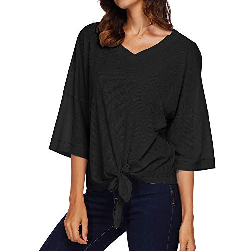 ESAILQ Women Autumn V Neck 3/4 Sleeve Bandage Solid Top Casual Blouse Tops T-Shirt Blouse Shirt Womens Coats Womens Coats Sale Black Coat Womens Winter Coats Trench Coat Women