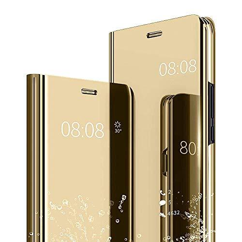 Karomenic kompatibel mit Samsung Galaxy J3 2017 Spiegel Hülle Überzug PU Leder Mirror Case Flip Schutzhülle Brieftasche Cool Männer Mädchen Slim Clear Handyhülle Tasche Ständer Etui,Gold