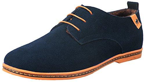 iLoveSIA homme chaussures de ville hiver fourrées,FR Pointure 37-45 Bleu
