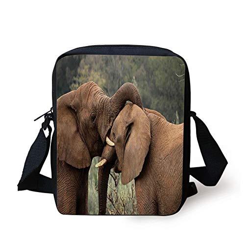 LULABE Safari Decor,Two Wild Savanna Elephants Wrestling Cute Nature Icons South African Animals Game Photo,Brown Green Print Kids Crossbody Messenger Bag Purse - Safari Room Decor