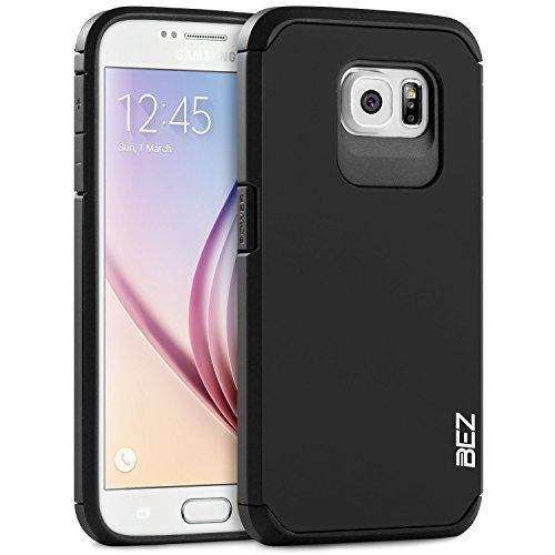 Samsung Galaxy S6 Hülle, BEZ® Handyhülle Samsung Galaxy S6 Stoßfestes Etui, [Heavy Duty Serie] Outdoor Dual Layer Armor Case Handy Schutzhülle [Shockproof] robuste Hülle - Schwarz