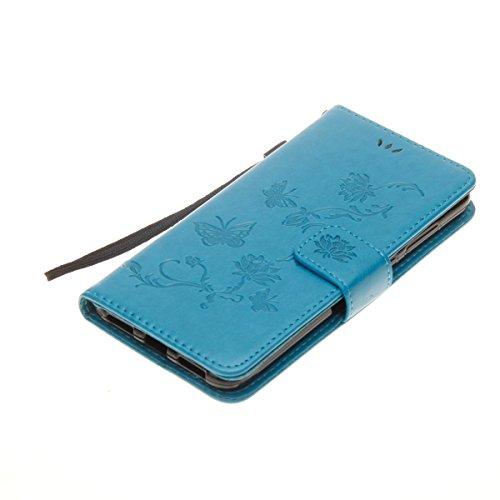 Hülle für Huawei P8 Lite 2017, Tasche für Huawei P8 Lite 2017, Case Cover für Huawei P8 Lite 2017, ISAKEN Blume Schmetterling Muster Folio PU Leder Flip Cover Brieftasche Geldbörse Wallet Case Lederta Lotus Schmetterlinge Blau