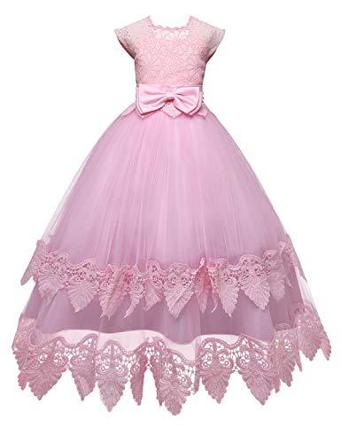 NNJXD Madchen Armellos Stickerei Prinzessin Festzug Kleider Abschlussball Ballkleid, #2 Rosa, 13-14 Jahre / Herstellergröße: 170