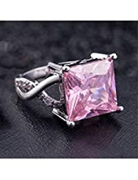 ELECTROPRIME Women Fashion Pink & White Rhinestone Jewelry Gift Silver Plated Slim Ring