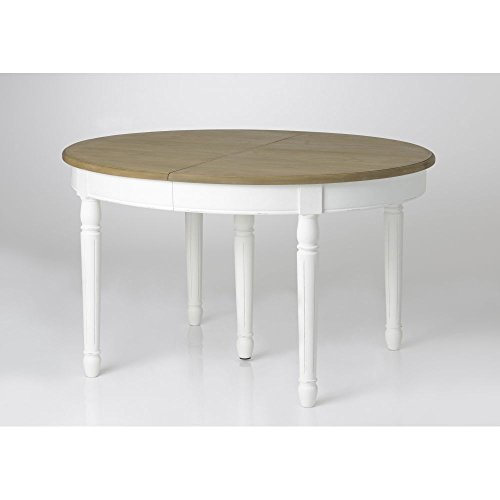 PierImport Table à Manger Ovale Extensible Bois Massif Blanc Prague ref. 30020690