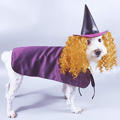 MAJGLGE Dog Accessories Cloak FUUNY Halloween Pet Dog Costume Witch Wig Hat Dress Cloak Cosplay Cape Outfit - Purple M Prop Satin