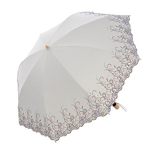 Honeystore Regenschirm, Taschenschirm Blumen Sonnnenschirm mit 85 cm Durchmesser Champagnerr