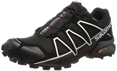 Salomon Speedcross 4 GTX, Scarpe da Trail Running Impermeabili Uomo, Nero Black/Silver Metallic-X, 44 2/3 EU