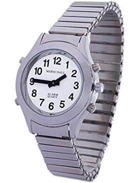 Sprechende Analog-Armbanduhr für Damen 32 mm silberfarben mit Metall-Zugband D-SM