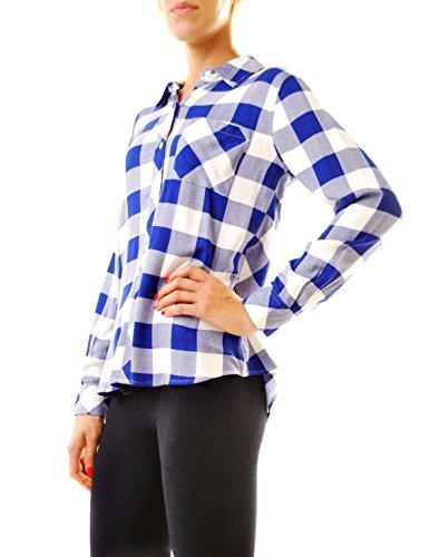 Rails Damen Beiläufig Taste Gedrückt Lange Ärmel Shirts Blau Weiß