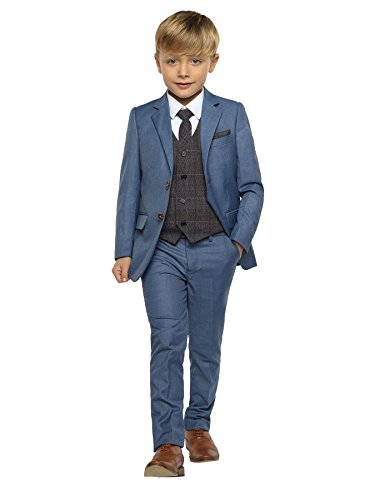 Paisley of London Jungen Anzug blau Chambrey blue with grey waistcoat, blau