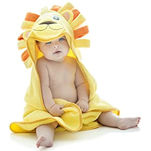 Little Tinkers World Lion Hooded Baby Towel, Natural Cotton, 75x75 cms