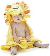 Little Tinkers World Baby-Badetuch/Kapuzenhandtuch im Löwe -Design – 100% Flauschige Baumwolle – Perfekt als Geschenk für Neugeborene, Säuglinge, Kleinkinder, Mädchen & Jungen, 75x75 cm