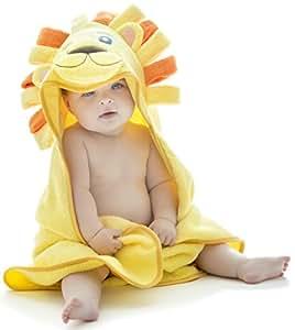 Little Tinkers World Asciugamano Leone per Bambini EXTRA SOFFICE - Asciugamano da Bagno 100% in Cotone - Perfetto per la Doccia dei Bambini - Per Neonati o Bambini Piccoli