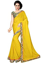 Shree Laxmi Cretion Women's Chiffon Saree With Blouse Piece Blouse (Ss1075_Yellow_Free Size)