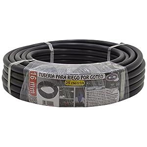 S&M 010040 Manguera Riego por Goteo, 16 mm x 25 m, Color Negro, 40.00×40.00×9.00 cm